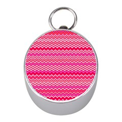 Valentine Pink And Red Wavy Chevron Zigzag Pattern Mini Silver Compasses by PaperandFrill