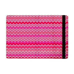Valentine Pink And Red Wavy Chevron Zigzag Pattern Ipad Mini 2 Flip Cases by PaperandFrill