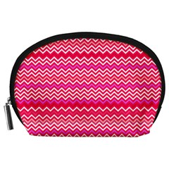 Valentine Pink And Red Wavy Chevron Zigzag Pattern Accessory Pouches (large)  by PaperandFrill