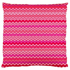 Valentine Pink and Red Wavy Chevron ZigZag Pattern Standard Flano Cushion Cases (One Side)  by PaperandFrill