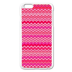 Valentine Pink And Red Wavy Chevron Zigzag Pattern Apple Iphone 6 Plus/6s Plus Enamel White Case by PaperandFrill