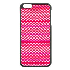 Valentine Pink And Red Wavy Chevron Zigzag Pattern Apple Iphone 6 Plus/6s Plus Black Enamel Case by PaperandFrill