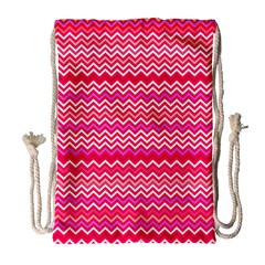 Valentine Pink And Red Wavy Chevron Zigzag Pattern Drawstring Bag (large) by PaperandFrill