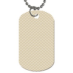 Gold And White Chevron Wavy Zigzag Stripes Dog Tag (one Side) by PaperandFrill