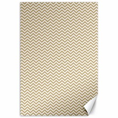 Gold And White Chevron Wavy Zigzag Stripes Canvas 12  X 18   by PaperandFrill