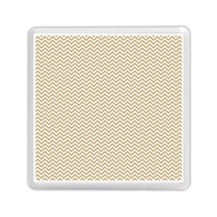 Gold And White Chevron Wavy Zigzag Stripes Memory Card Reader (square)  by PaperandFrill