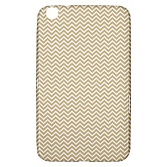 Gold and White Chevron Wavy ZigZag Stripes Samsung Galaxy Tab 3 (8 ) T3100 Hardshell Case  by PaperandFrill