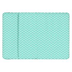 Tiffany Aqua And White Chevron Wavy Zigzag Stripes Samsung Galaxy Tab 8 9  P7300 Flip Case by PaperandFrill