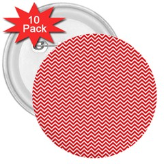 Red And White Chevron Wavy Zigzag Stripes 3  Buttons (10 Pack)  by PaperandFrill