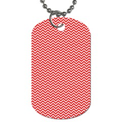 Red And White Chevron Wavy Zigzag Stripes Dog Tag (two Sides) by PaperandFrill