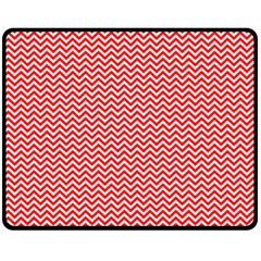 Red And White Chevron Wavy ZigZag Stripes Double Sided Fleece Blanket (Medium)  by PaperandFrill