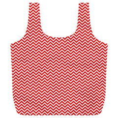 Red And White Chevron Wavy Zigzag Stripes Full Print Recycle Bags (l)  by PaperandFrill