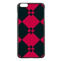 Black Pink Shapes Patternapple Iphone 6 Plus/6s Plus Black Enamel Case by LalyLauraFLM