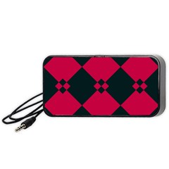 Black Pink Shapes Pattern Portable Speaker by LalyLauraFLM
