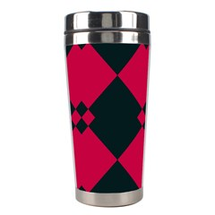 Black Pink Shapes Pattern Stainless Steel Travel Tumbler by LalyLauraFLM