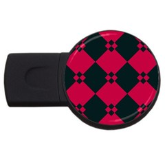 Black Pink Shapes Pattern			usb Flash Drive Round (4 Gb) by LalyLauraFLM