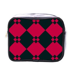 Black Pink Shapes Patternmini Toiletries Bag (one Side) by LalyLauraFLM