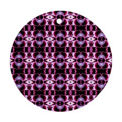 Purple White Flower Abstract Pattern Ornament (round)  by Costasonlineshop