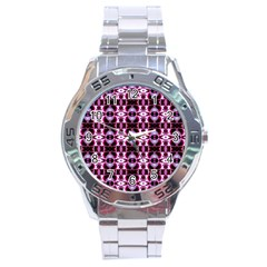Purple White Flower Abstract Pattern Stainless Steel Men s Watch by Costasonlineshop