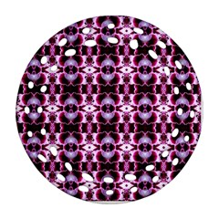 Purple White Flower Abstract Pattern Ornament (round Filigree)  by Costasonlineshop