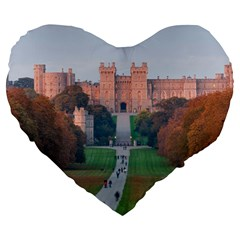Windsor Castle Large 19  Premium Heart Shape Cushions by trendistuff