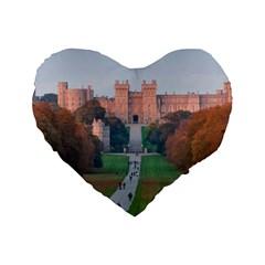 Windsor Castle Standard 16  Premium Flano Heart Shape Cushions by trendistuff