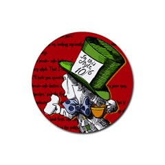 The Mad Hatter Rubber Round Coaster (4 Pack)  by waywardmuse