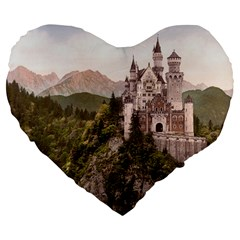 NEUSCHWANSTEIN CASTLE Large 19  Premium Flano Heart Shape Cushions by trendistuff