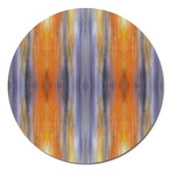 Gray Orange Stripes Painting Magnet 5  (round) by Costasonlineshop