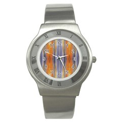 Gray Orange Stripes Painting Stainless Steel Watches by Costasonlineshop