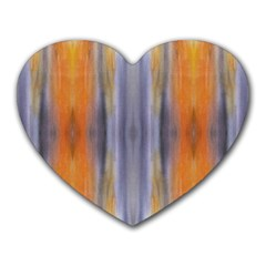 Gray Orange Stripes Painting Heart Mousepads by Costasonlineshop