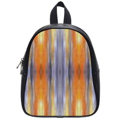 Gray Orange Stripes Painting School Bags (Small)  by Costasonlineshop