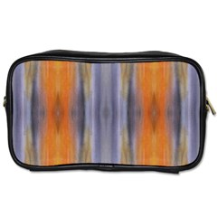 Gray Orange Stripes Painting Toiletries Bags by Costasonlineshop
