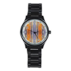 Gray Orange Stripes Painting Stainless Steel Round Watches by Costasonlineshop
