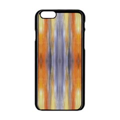Gray Orange Stripes Painting Apple Iphone 6/6s Black Enamel Case by Costasonlineshop