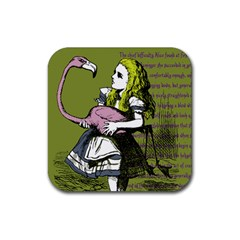Flamingo Croquet Rubber Square Coaster (4 Pack)  by waywardmuse