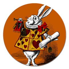 The White Rabbit Magnet 5  (round) by waywardmuse