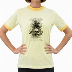 Skull & Books Women s Fitted Ringer T Shirts by waywardmuse