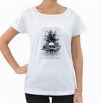 Skull & Books Women s Loose-Fit T-Shirt (White)