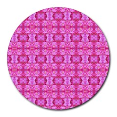 Pretty Pink Flower Pattern Round Mousepads by Costasonlineshop