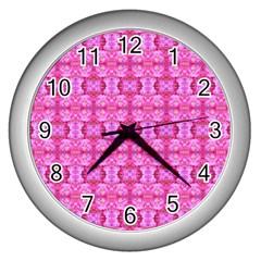 Pretty Pink Flower Pattern Wall Clocks (silver)  by Costasonlineshop