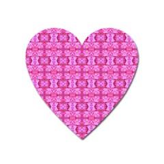 Pretty Pink Flower Pattern Heart Magnet by Costasonlineshop