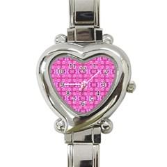 Pretty Pink Flower Pattern Heart Italian Charm Watch by Costasonlineshop