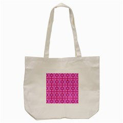 Pretty Pink Flower Pattern Tote Bag (cream)  by Costasonlineshop