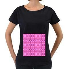 Pretty Pink Flower Pattern Women s Loose Fit T Shirt (black) by Costasonlineshop