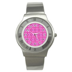 Pretty Pink Flower Pattern Stainless Steel Watches by Costasonlineshop