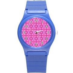 Pretty Pink Flower Pattern Round Plastic Sport Watch (s) by Costasonlineshop