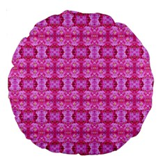 Pretty Pink Flower Pattern Large 18  Premium Round Cushions by Costasonlineshop
