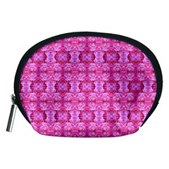 Pretty Pink Flower Pattern Accessory Pouches (medium)  by Costasonlineshop