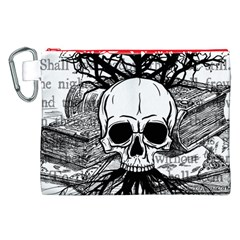 Skull & Books Canvas Cosmetic Bag (xxl)  by waywardmuse